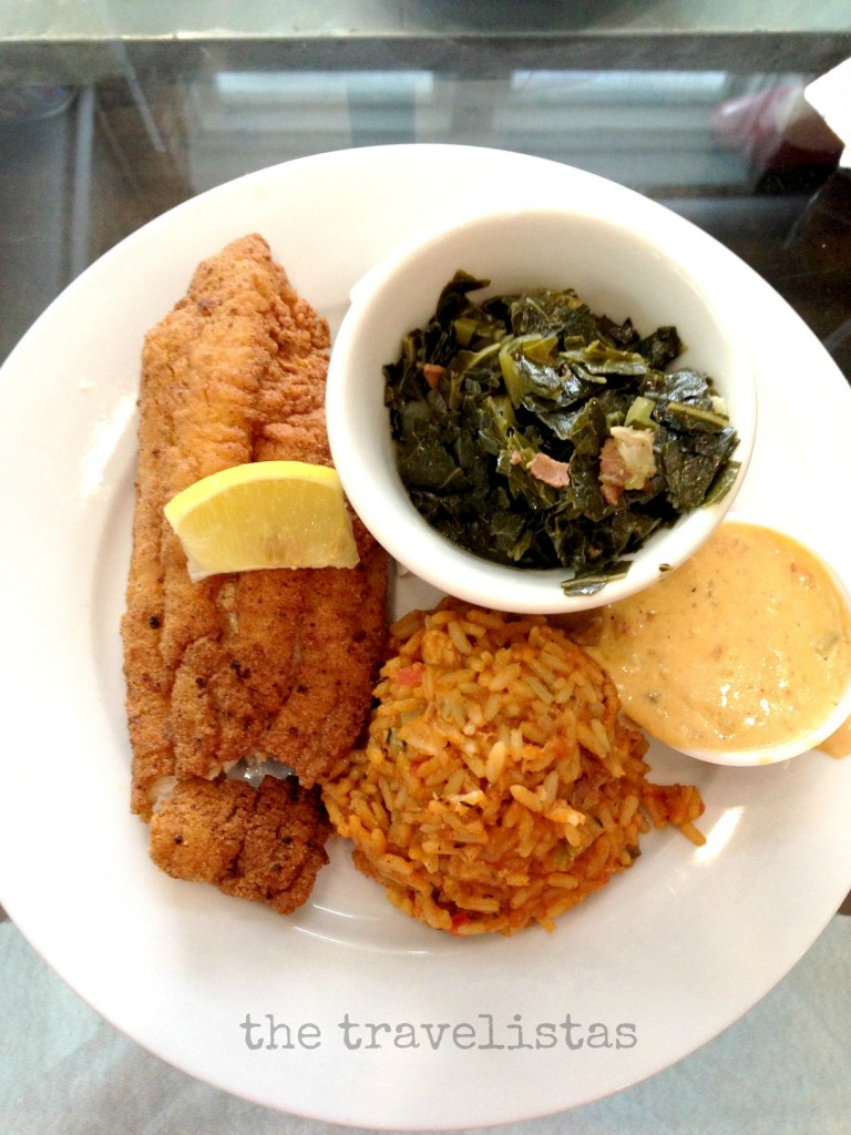 catfish, jambalaya and greens, crawfish remoulade sauce, Cafe Reconcile, NOLA