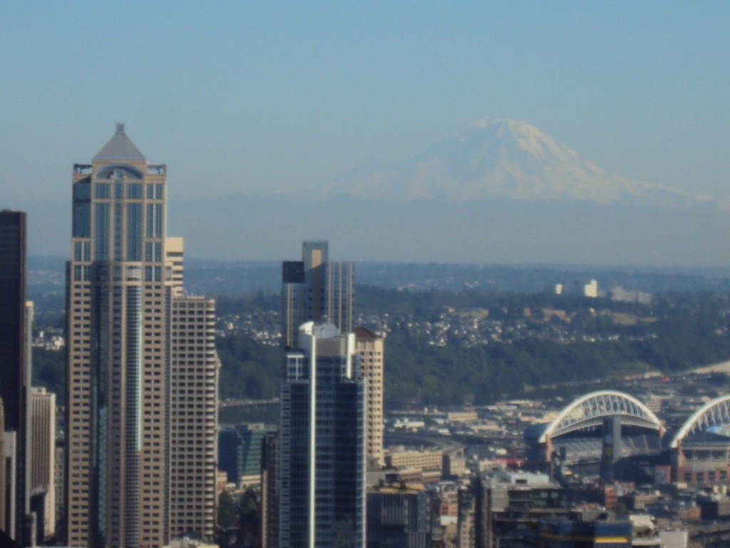 View of Seattle, Mt. Rainier from the Space needle