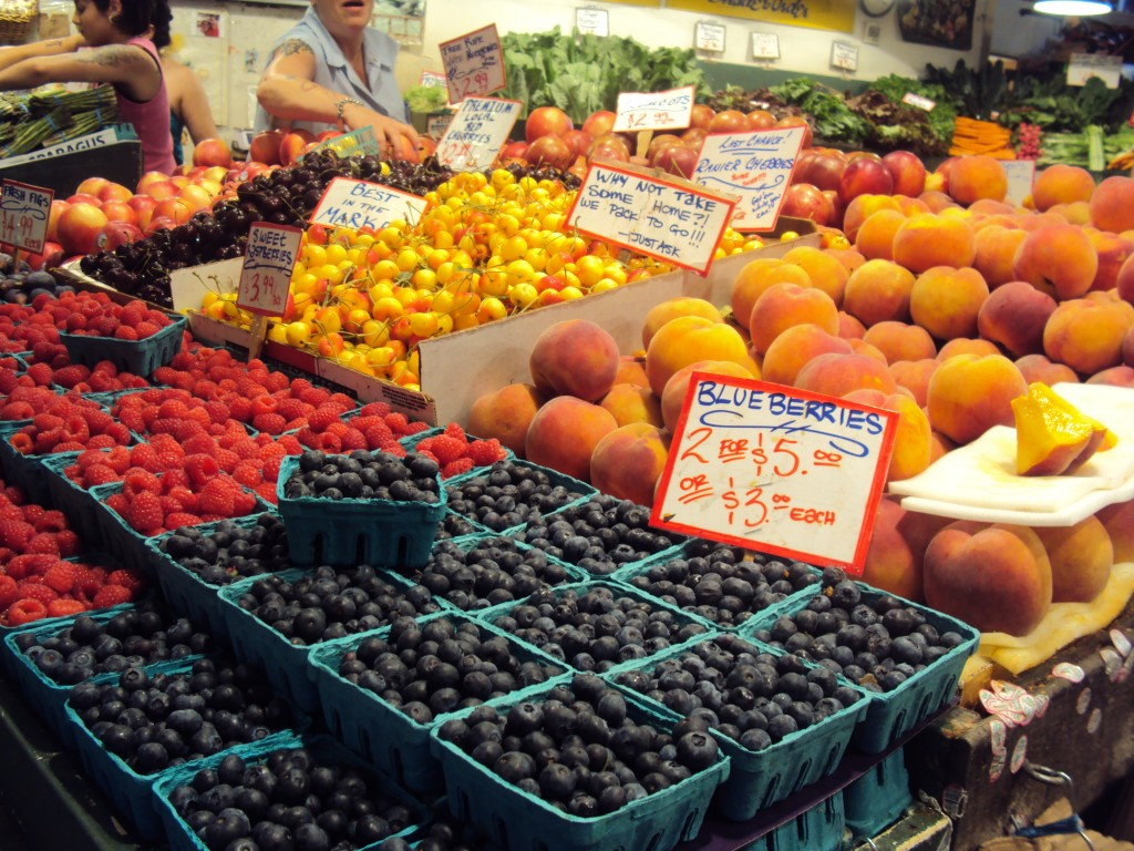 Fresh fruits at Seattle's Pikes Place Market